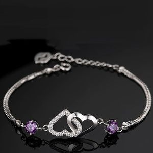 Jewelry - Romantic CZ Linked Hearts of Love Silver Bracelet
